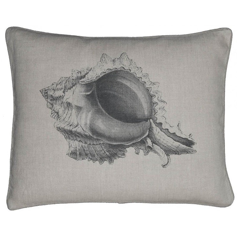 Vintage Conch Shell Printed Linen Throw Pillow,throw pillow,Adley & Company Inc.