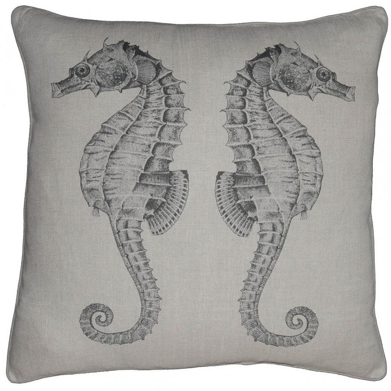 Down Filled Sea Horse Linen Throw Pillow,throw pillow,Adley & Company Inc.