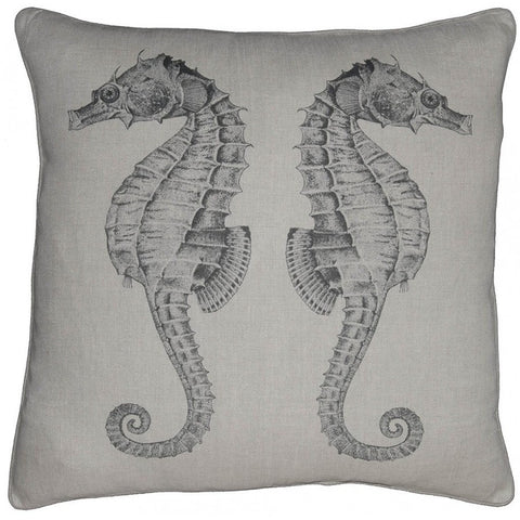 Sea Horse Linen Throw Pillow with Feather Down Insert