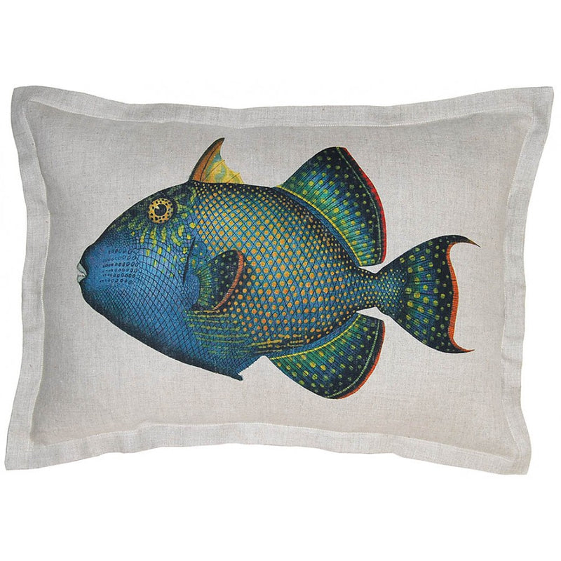 Down Filled Colorful Fish Printed Linen Pillow,throw pillow,Adley & Company Inc.