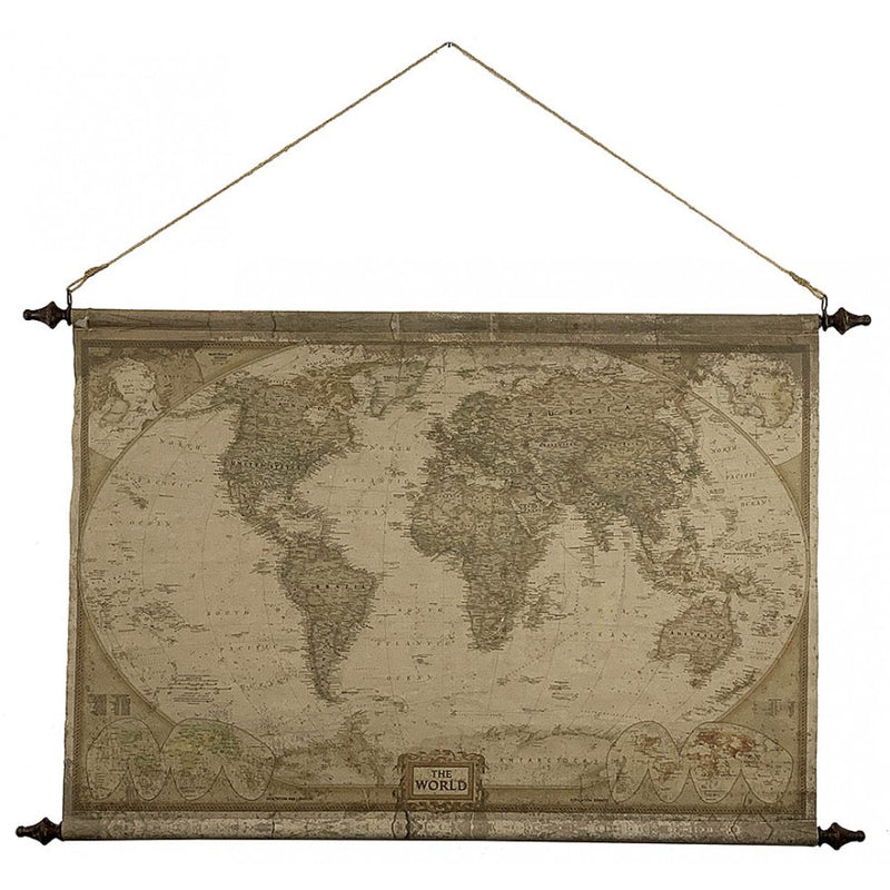 Antiqued World Map Canvas Wall Tapestry,tapestry,Adley & Company Inc.