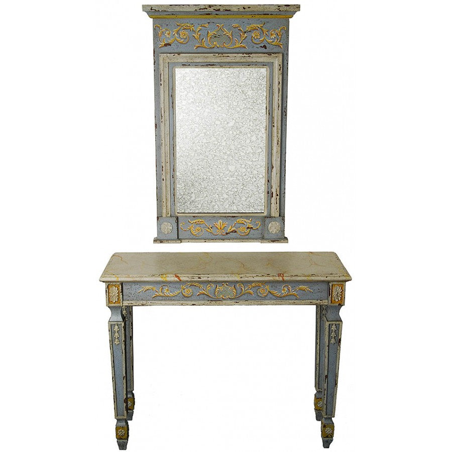 Sea Blue French Style Console and Mirror Set,console table,Adley & Company Inc.