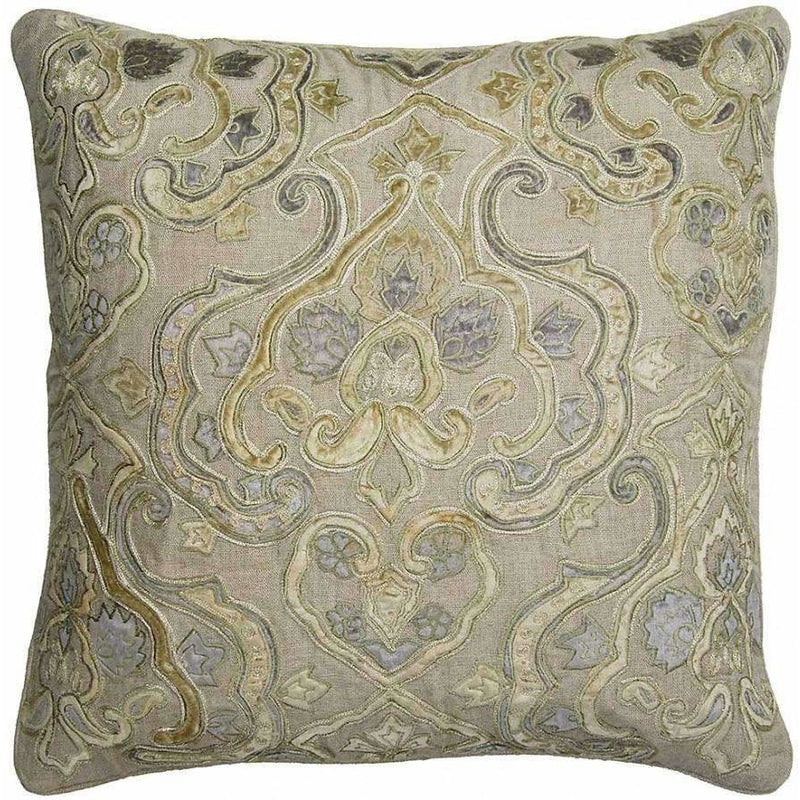 Gold Velvet & Linen Pillow with Feather Down Insert,throw pillow,Adley & Company Inc.