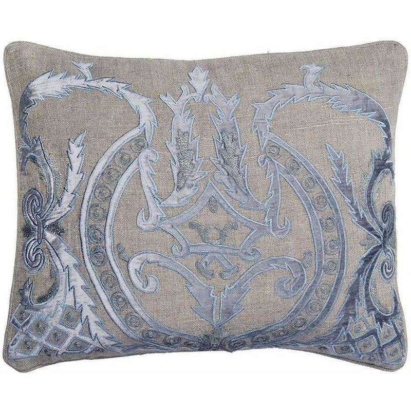 Blue Velvet & Linen Pillow with Feather Down Insert,throw pillow,Adley & Company Inc.