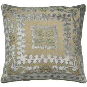 Velvet Applique Linen Decorative Pillow,throw pillow,Adley & Company Inc.