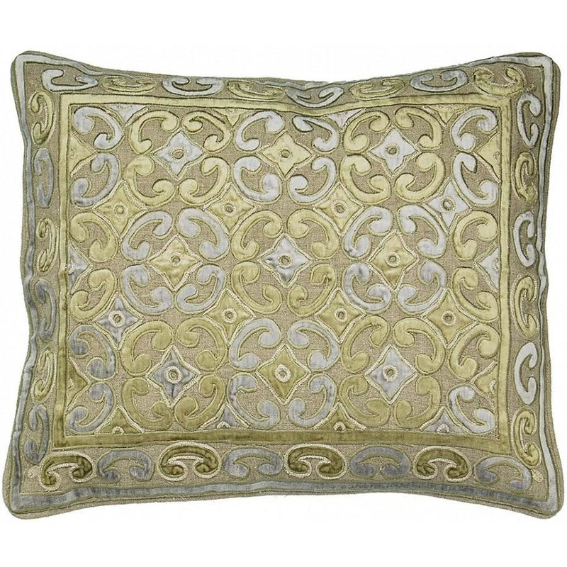 Golden Velvet Applique Accent Pillow,throw pillow,Adley & Company Inc.