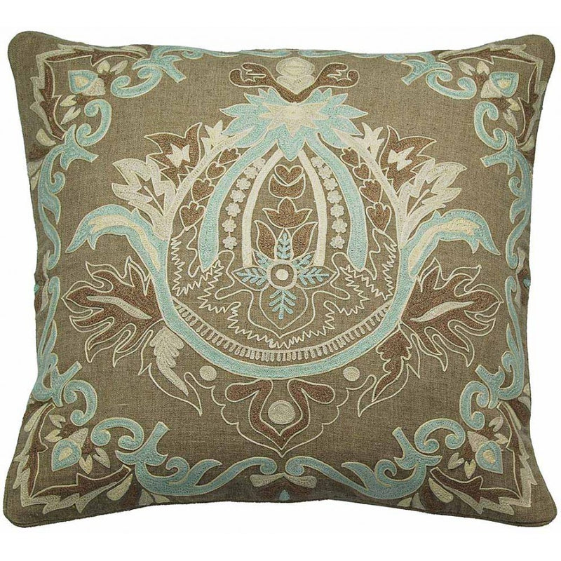 Embroidered Linen Pillow with Feather Down Insert,throw pillow,Adley & Company Inc.