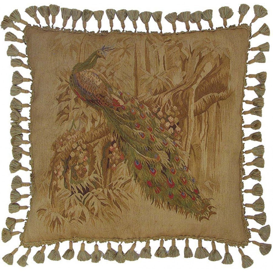 Luxurious Aubusson Tapestry Peacock Tassle Cushion,cushion,Adley & Company Inc.