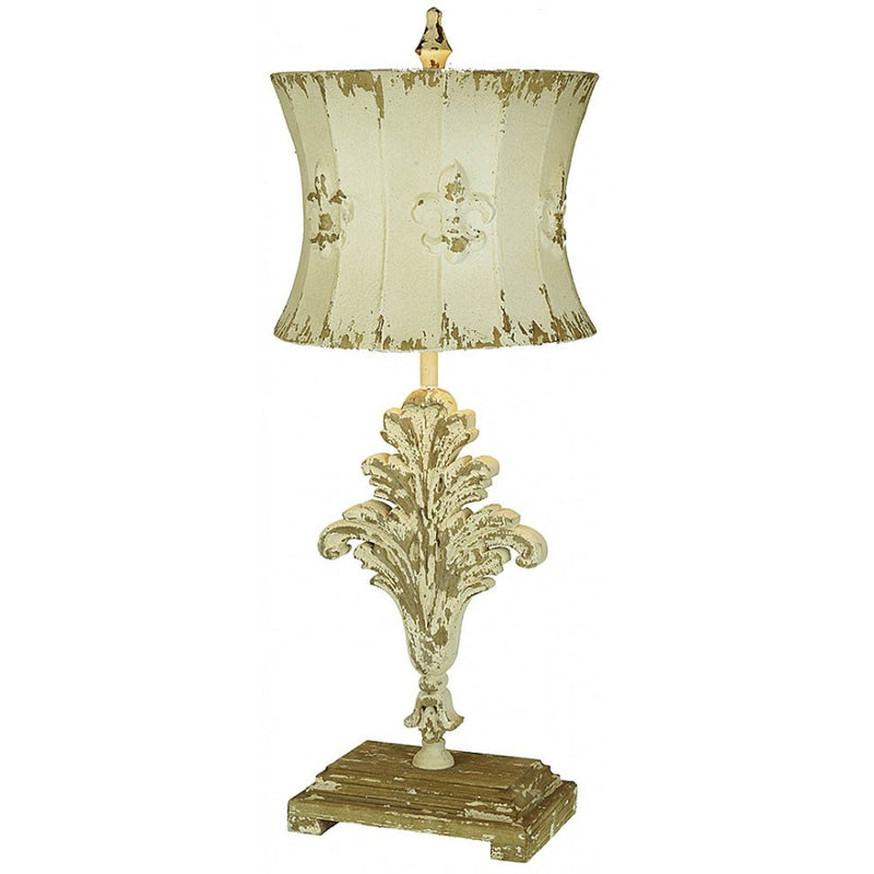 Eliza Hand Carved Wood and Metal Table Lamp