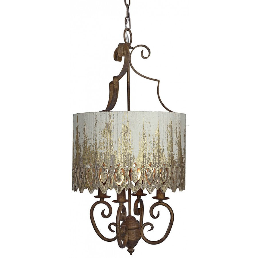 White and Gold Wood Metal Ceiling Pendant Light