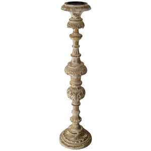 "Hand Carved Wooden 36"" Tall Candle Holder,candle holder,Adley & Company Inc."