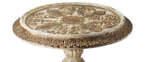 Hand Carved Wood Pedestal Accent Table,accent table,Adley & Company