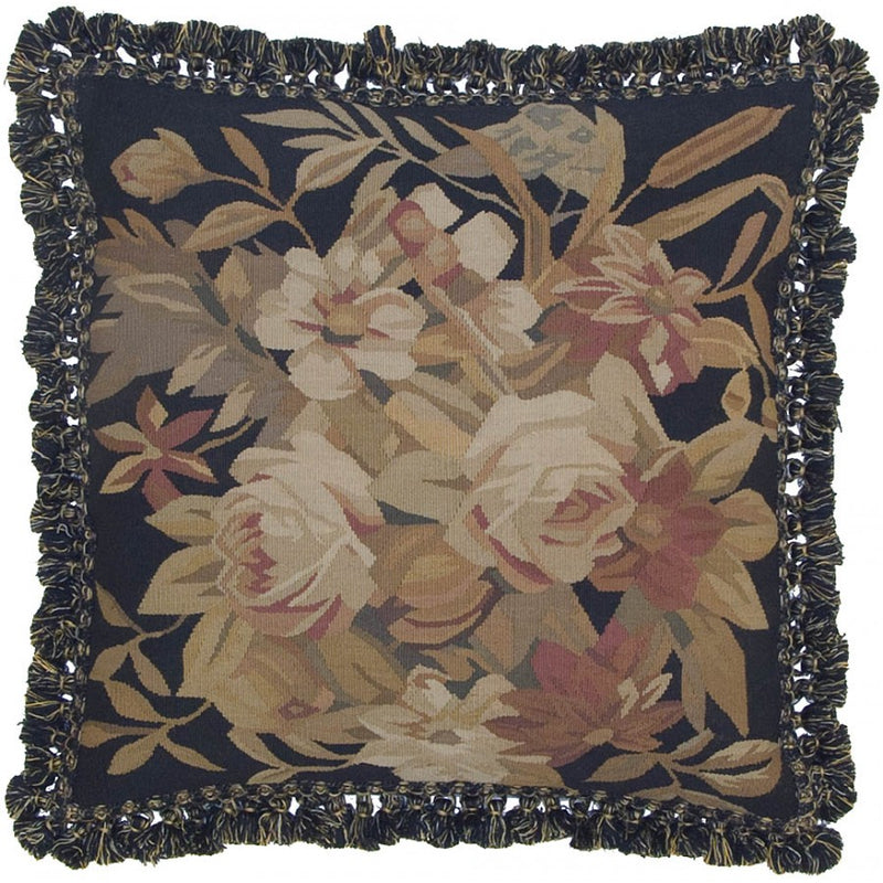 Floral Aubusson Down Filled Cushion,throw pillow,Adley & Company Inc.