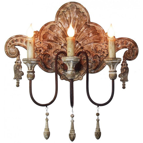 Set of 2 Antique Style Carved Sconce Light Fixture,wall sconce,Adley & Company Inc.