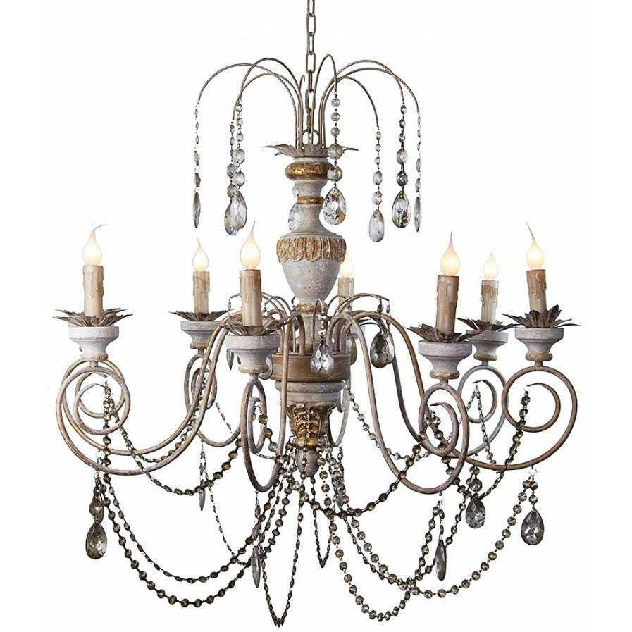 Antique style hand carved wood crystal chandelier