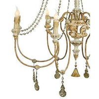 Antique Style Hand Carved Wood & Crystal Chandelier,chandelier,Adley & Company Inc.