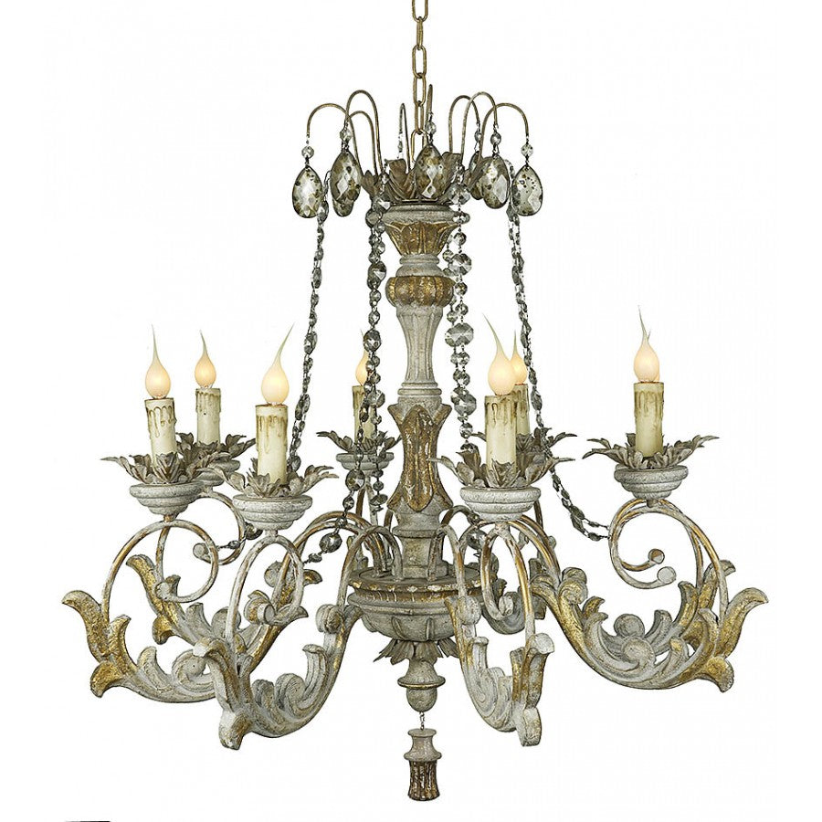 Hand Carved Wood and Crystal Chandelier
