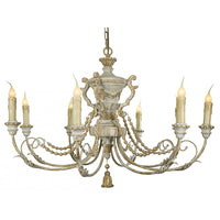 Carved Wood Chandelier in Grey and Gold