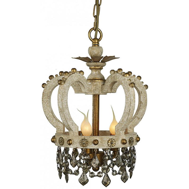 Carved Wood & Crystal Crown Chandelier,chandelier,Adley & Company Inc.