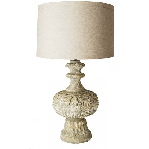 Antique Style Hand Carved Table Lamp with Shade