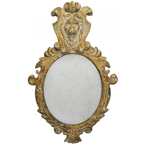 Faux Wood Framed Oval Wall Mirror with Lion Head