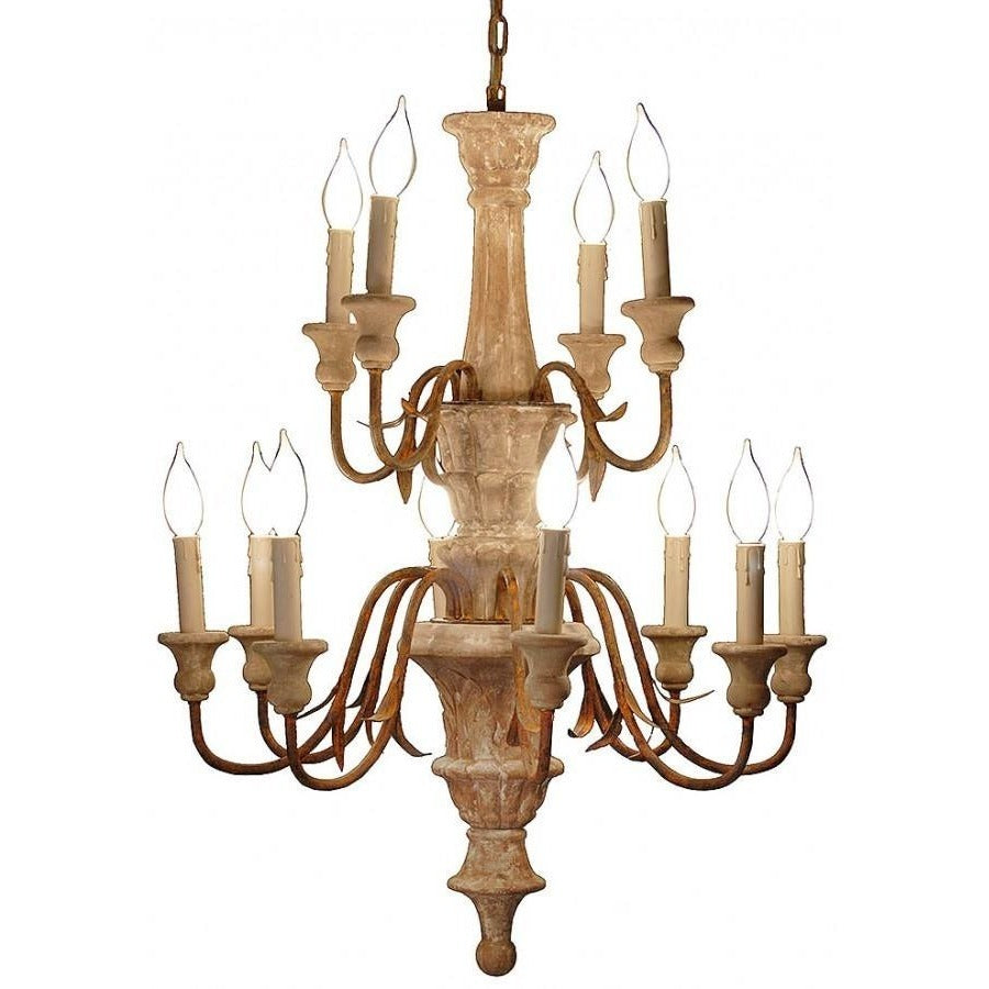 Emilie Antique Style Carved Wood Chandelier,chandelier,Adley & Company Inc.