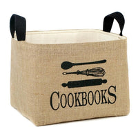 Burlap Storage Basket For Cookbooks,storage box,Adley & Company Inc.