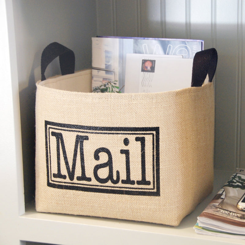 Burlap Basket Storage for Mail,canvas bin,Adley & Company Inc.