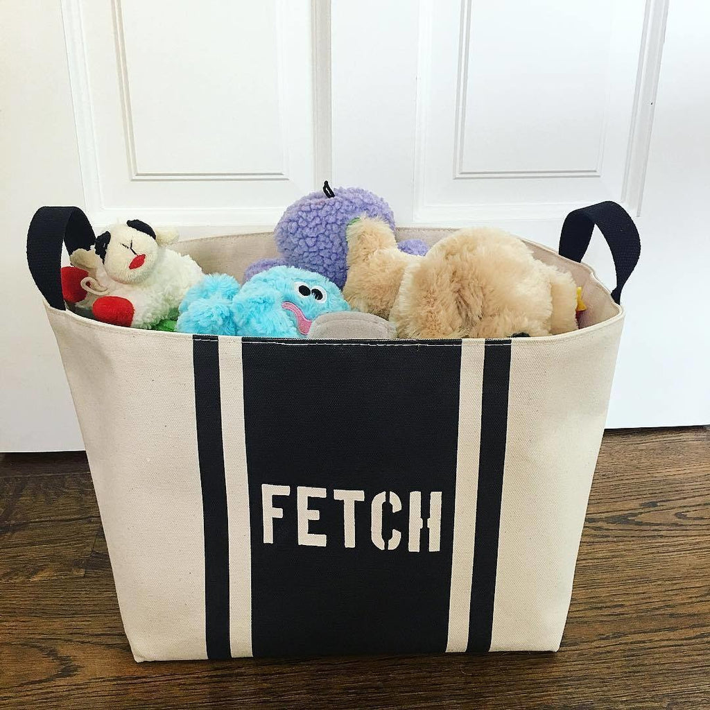 "Dog Toy ""FETCH"" Toy Box,canvas bin,Adley & Company Inc."