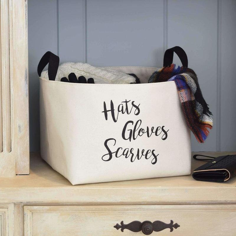 Hats, Gloves & Scarves Canvas Storage Bin,hamper,Adley & Company Inc.