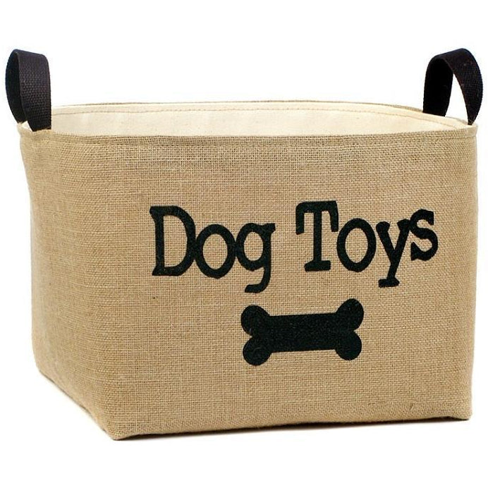 Burlap Dog Toy Storage Box,storage box,Adley & Company Inc.