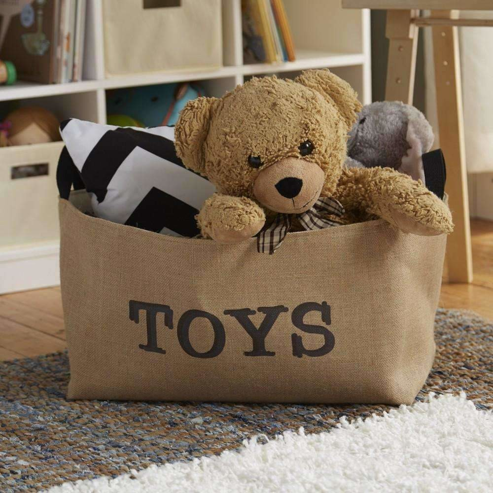 Toys Burlap Storage Box,toy box,Adley & Company Inc.