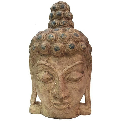 Solid Wood Carved Decorative Buddha Head