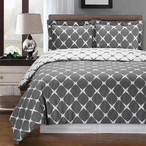 Gray and White Cotton Duvet Cover Set,bedding set,Adley & Company Inc.