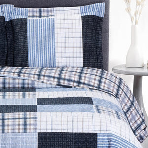 Blue Patchwork Boho Quilted Bedspread Set,quilt,Adley & Company Inc.