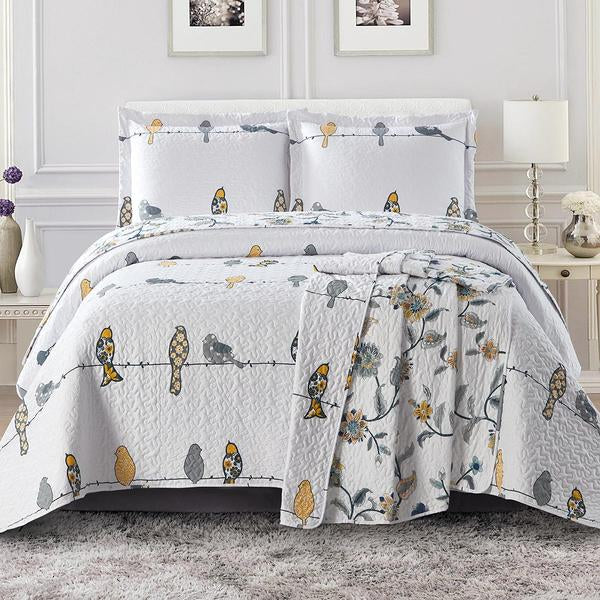 Birds on a Wire Quilted Coverlet Bedding Set