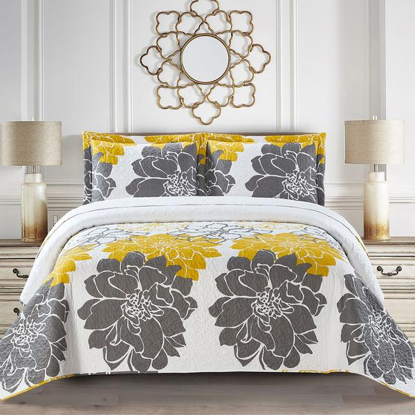 Gold and Grey Helena Bedspread Set - Adley & Company Inc.
