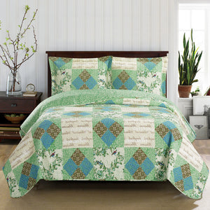 Quilted Green & Blue Floral Bedspread Set,bedspread,Adley & Company Inc.