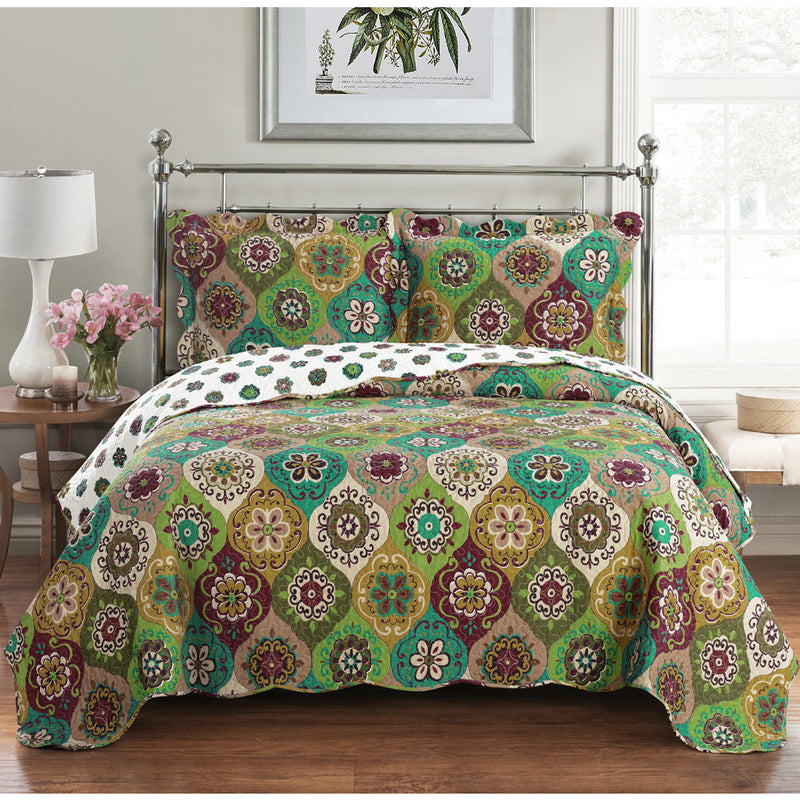 Microfiber Quilted Floral Bedspread Set,bedspread,Adley & Company Inc.