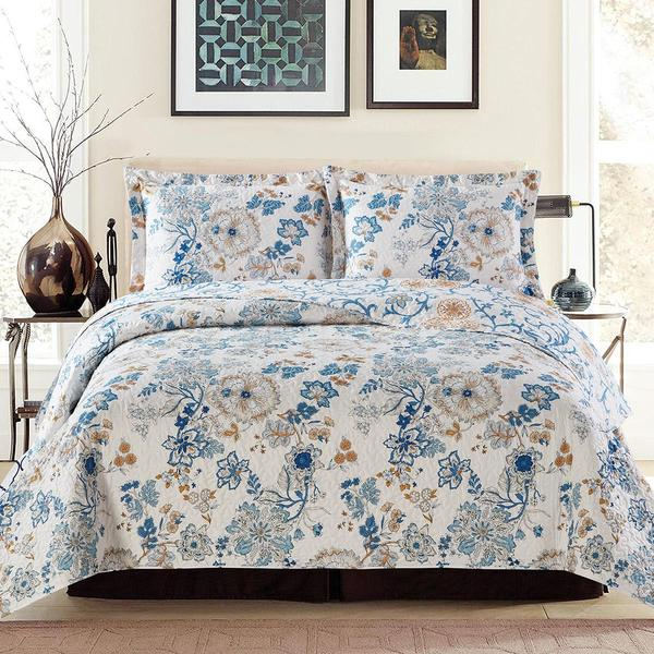 Blue Floral Coverlet Bedspread Set