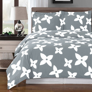 Gray and White Floral Print Duvet Cover,bedding set,Adley & Company Inc.