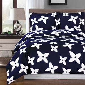 Navy Blue & White Duvet Cover Set,bedding set,Adley & Company Inc.