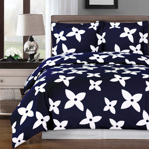 Navy Blue & White Cotton Duvet Cover Set
