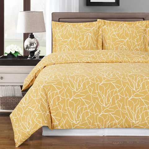 Yellow and White Cotton Duvet Cover Set