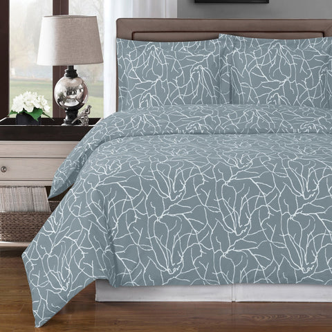 Gray and White Modern Print Duvet Cover Set