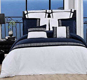 Blue and White Embroidered Mediterranean Duvet Cover Set