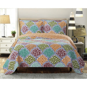 Floral Microfiber Quilted Bedspread Set,bedspread,Adley & Company Inc.