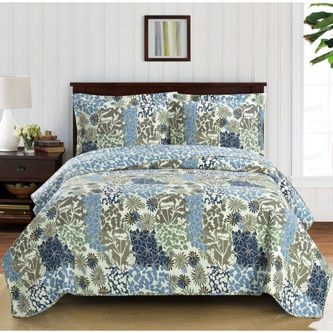 Blue Floral Quilted Bedspread Set,bedspread,Adley & Company Inc.