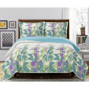 Blue & Purple Oversized Floral Bedspread,bedspread,Adley & Company Inc.