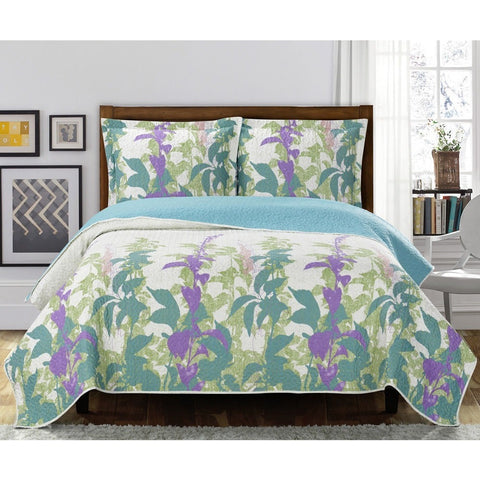 Oversized Floral Bedspread with Matching Pillow Cases